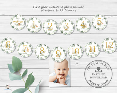 Jungle Animals Greenery 1st Birthday Photo Milestone First Year Banner - Instant Download - Digital Printable File