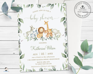 Chic Greenery Jungle Animals Gender Neutral Baby Shower Invitation Editable Template - Digital Printable File - Instant Download - JA5