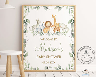 Chic Jungle Animals Greenery Welcome Sign Gender Neutral - Digital Printable File - Instant Download - JA5