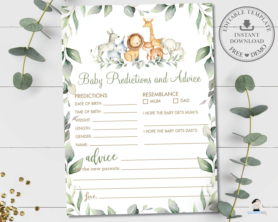 Copy of Jungle Animals Greenery Baby Predictions and Advice Baby Shower Activity Game - Instant Download Digital Printable File - JA5