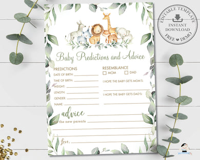Jungle Animals Greenery Baby Predictions and Advice Baby Shower Activity Game - Instant Download Digital Printable File - JA5