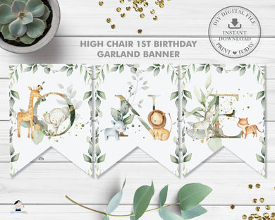 Jungle Animals Greenery High Chair Garland Flag Banner Printable File Instant Download - JA5