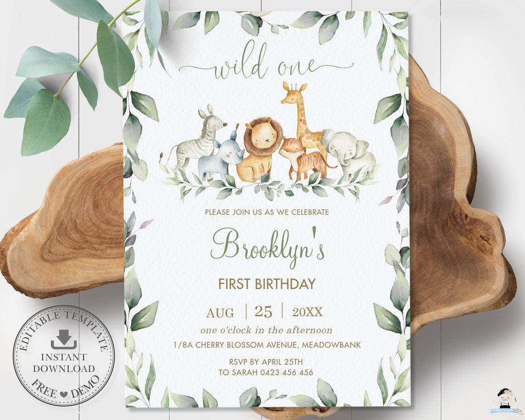 Chic Greenery Jungle Animals Gender Neutral 1st Birthday Wild One Invitation Editable Template - Digital Printable File - Instant Download - JA5
