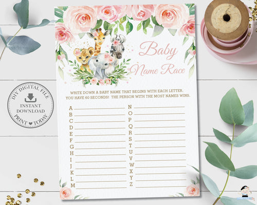 Pink Floral Jungle Animals Baby Name Race ABC Baby Shower Game Activity - Digital Printable File - Instant Download - JA6