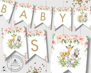 Jungle Animals Pink Floral Greenery Flag Banner Bunting - Editable Template - Instant Download - Digital Printable File - JA6