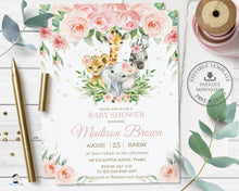 Load image into Gallery viewer, Jungle Animals Pink Floral Greenery Baby Shower Invitation - Editable Template - Digital Printable File - Instant Download - JA6