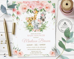 Jungle Animals Pink Floral Greenery Baby Shower Invitation - Editable Template - Digital Printable File - Instant Download - JA6