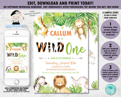 Greenery Cute Jungle Animals 1st Birthday Wild One Invitation - Editable Template - Digital Printable File - Instant Download - JA1