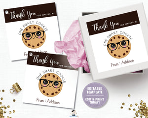 Smart Cookie Teacher Thank You Tags Editable Template - Instant Download - Digital Printable File - SC1