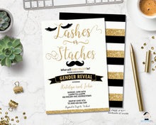 Load image into Gallery viewer, Lashes or Staches Gender Reveal Invitation Black and Gold - Instant EDITABLE TEMPLATE - GR2