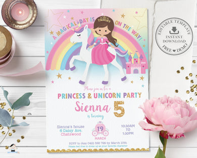 Light Brown Hair Princess and Unicorn Birthday Invitation - Editable Template - Digital Printable File - Instant Download - PU1
