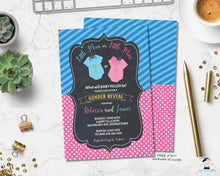 Load image into Gallery viewer, Little Man or Little Miss Gender Reveal Invitation - Instant EDITABLE TEMPLATE - GR1