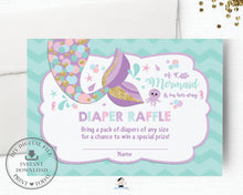 Load image into Gallery viewer, Whimsical Mermaid Tail Diaper Raffle Ticket Insert - Instant Download - Digital Printable File - MT3