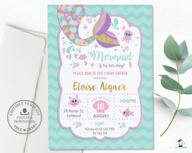 Whimsical Mermaid Tail Baby Shower Invitation Editable Template - Instant Download - Digital Printable File - MT3