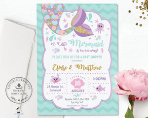 "Chic Mermaid Tail Baby Shower 4""x6"" Invitation Editable Template - Instant Download - Digital Printable File - MT3"