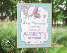 Load image into Gallery viewer, Chic Chevron Mermaid Tail Baby Shower Welcome Sign Editable Template - Instant Download - Digital Printable File - MT3