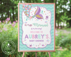 Chic Chevron Mermaid Tail Baby Shower Welcome Sign Editable Template - Instant Download - Digital Printable File - MT3