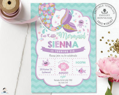 Whimsical Mermaid Tail Birthday Party Invitation Editable Template - Instant Download - Digital Printable File - MT3