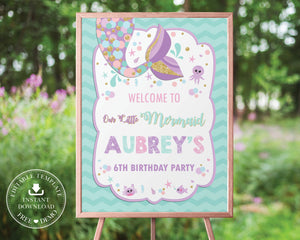 Chic Chevron Mermaid Tail Birthday Welcome Sign Editable Template - Instant Download - Digital Printable File - MT3