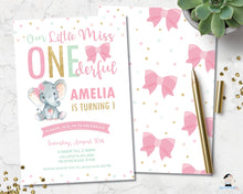 Load image into Gallery viewer, elephant-pink-bows-little-miss-onederful-1st-birthday-party-personalized-editable-invitation-template
