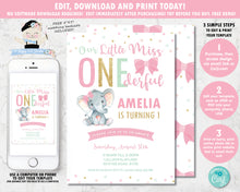 Load image into Gallery viewer, cute-little-miss-onederful-1st-birthday-party-elephant-pink-bows-personalized-editable-invitation-template