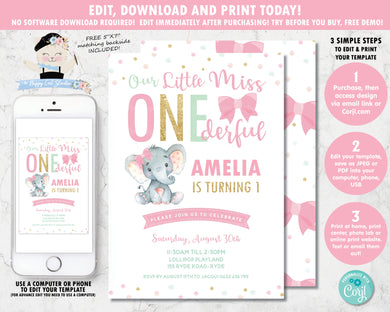 cute-little-miss-onederful-1st-birthday-party-elephant-pink-bows-personalized-editable-invitation-template