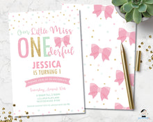 Load image into Gallery viewer, cute-our-little-miss-onederful-1st-birthday-party-personalised-invitation-editable-template-digital-printable-file-pink-gold