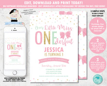 Load image into Gallery viewer, little-miss-onederful-1st-birthday-party-personalised-invitation-editable-template-digital-printable-file-pink-gold-mint