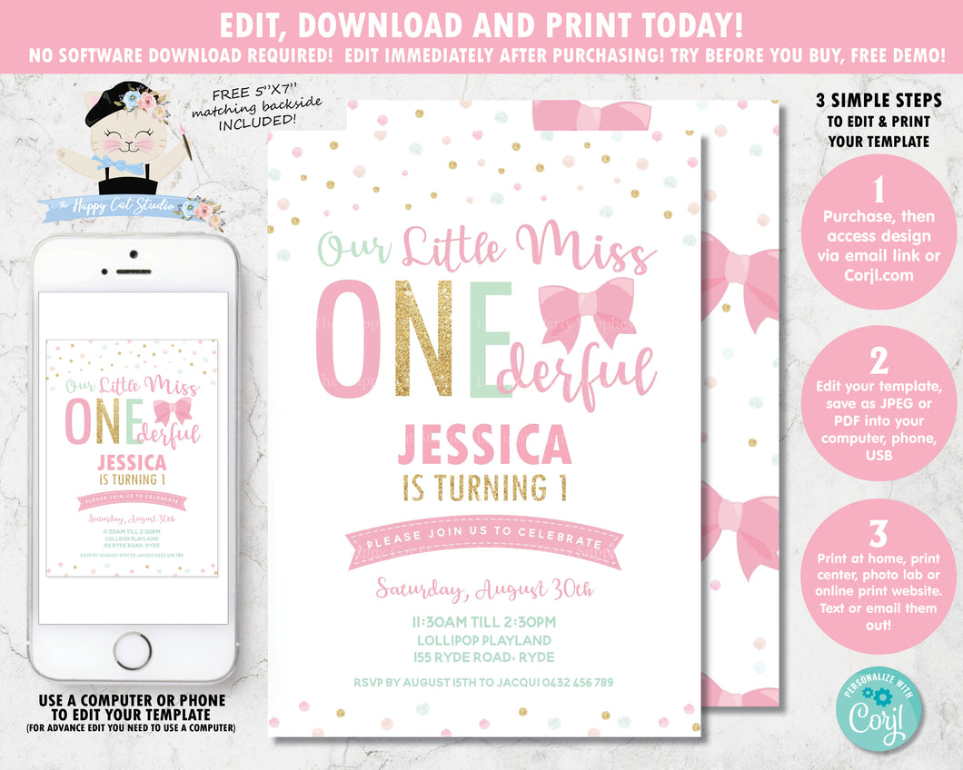 little-miss-onederful-1st-birthday-party-personalised-invitation-editable-template-digital-printable-file-pink-gold-mint