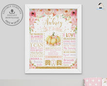 Load image into Gallery viewer, Whimsical Pink Floral Little Pumpkin 1st Birthday Milestone Sign Birth Stats Editable Template - Instant Download - Digital Printable File - LP1