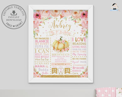 Whimsical Pink Floral Little Pumpkin 1st Birthday Milestone Sign Birth Stats Editable Template - Instant Download - Digital Printable File - LP1