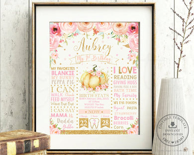 Chic Pink Floral Little Pumpkin 1st Birthday Milestone Sign Birth Stats Editable Template - Instant Download - Digital Printable File - LP1