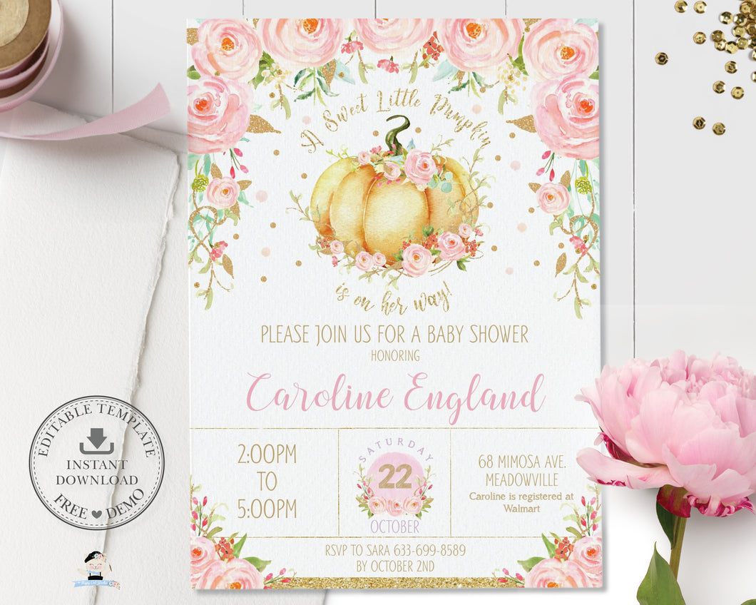 Little Pumpkin Pink Floral Baby Shower Girl Invitation Editable Template - Instant Download - Digital Printable File - LP1