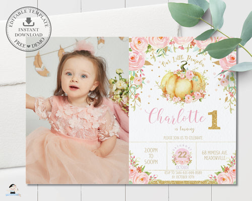 Chic Pink Floral Little Pumpkin Birthday Party Photo Invitation Editable Template - Instant Download - Digital Printable File - LP1