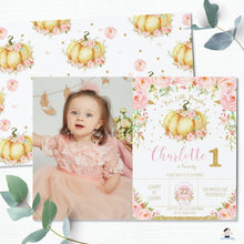 Load image into Gallery viewer, Chic Pink Floral Little Pumpkin Birthday Party Photo Invitation Editable Template - Instant Download - Digital Printable File - LP1