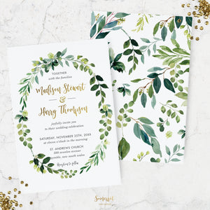 PRINTED Chic Greenery Wedding Card Stock Invitations - Botanical, Vine, Greenery Wreath, Garden Wedding, Leafy - FREE U.S. SHIPPING - LS1