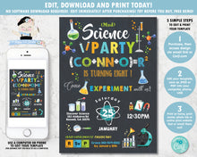 Load image into Gallery viewer, Mad Science Birthday Party Chalkboard Boy Invitation Editable Template - Instant Download - SC2