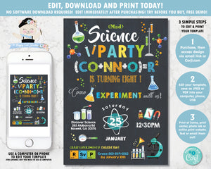 Mad Science Birthday Party Chalkboard Boy Invitation Editable Template - Instant Download - SC2