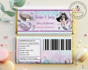 Mermaid and Pirate Twins Siblings Birthday Chocolate Bar Wrapper Aldi Hersheys Editable Template - Instant Download - Digital Printable File - MT2