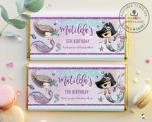 Load image into Gallery viewer, Mermaid and Pirate Twins Siblings Birthday Chocolate Bar Wrapper Aldi Hersheys Editable Template - Instant Download - Digital Printable File - MT2