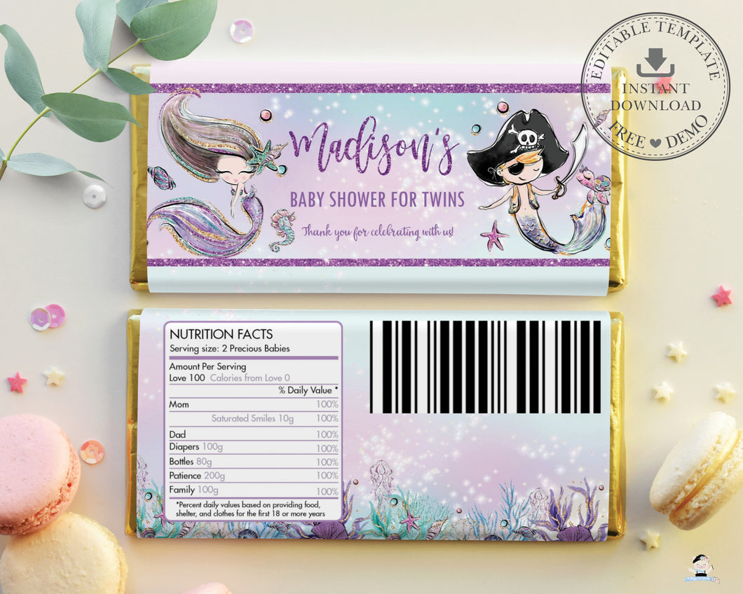 Mermaid and Pirate Twins Baby Shower Chocolate Bar Wrapper Aldi Hersheys Editable Template - Instant Download - Digital Printable File - MT2