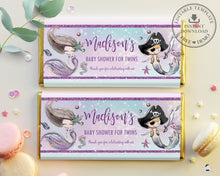Load image into Gallery viewer, Mermaid and Pirate Twins Baby Shower Chocolate Bar Wrapper Aldi Hersheys Editable Template - Instant Download - Digital Printable File - MT2