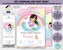 Load image into Gallery viewer, Mermaid and Unicorn Pool Party Birthday Invitation Black Hair - Instant EDITABLE TEMPLATE Digital Printable File - MU1