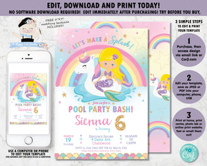 Mermaid and Unicorn Pool Party Birthday Invitation Blonde Hair - Instant EDITABLE TEMPLATE Digital Printable File - MU1
