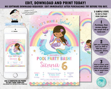Load image into Gallery viewer, Mermaid and Unicorn Pool Party Birthday Invitation Brown Skin Tone - Instant EDITABLE TEMPLATE Digital Printable File - MU1