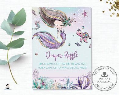 Whimsical Brown Hair Mermaid Diaper Raffle Insert Cards - Instant Download - Digital Printable File - MT2