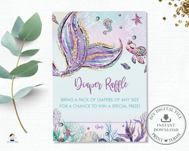 Whimsical Mermaid Tail Diaper Raffle Insert Cards - Instant Download - Digital Printable File - MT2