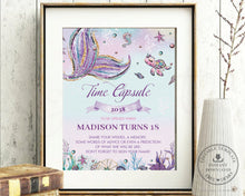 Load image into Gallery viewer, Whimsical Mermaid Time Capsule Sign Editable Template and Message Cards Instant Download - Digital Printable File - MT2