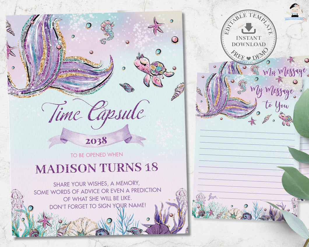 Whimsical Mermaid Time Capsule Sign Editable Template and Message Cards Instant Download - Digital Printable File - MT2