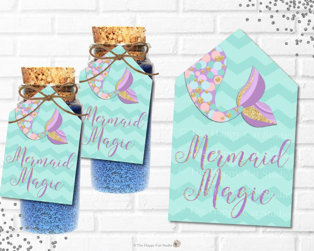 Mermaid Tail Small Bottle Glitter Dusts Favor Tags - Instant Download - Digital Printable File -MT3